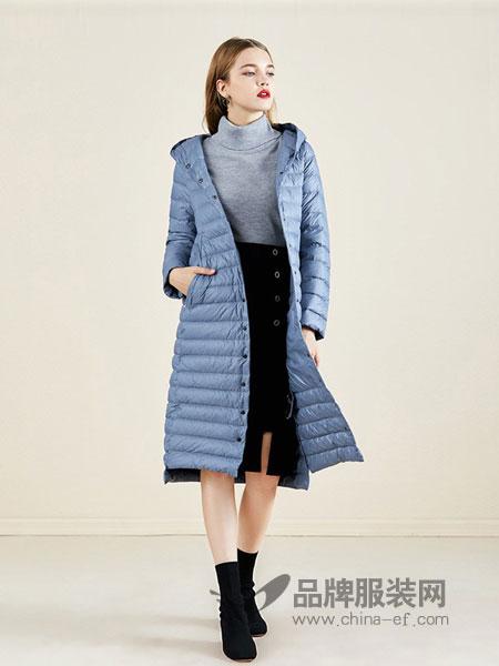 依兰女装2018秋冬保暖羽绒服中长款宽松过膝显瘦气质外套