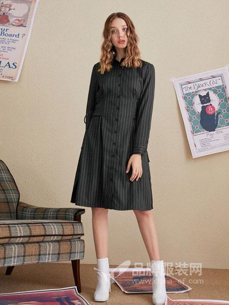 菲妮尔女装2018秋冬新款系带设计休闲连衣裙裙子