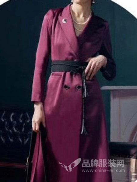CAR SU女装2018秋冬新款时尚中长款女士过膝长款外套
