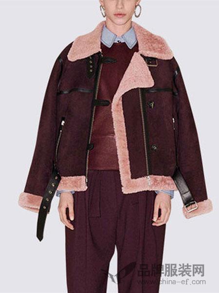 玛依尔女装2018冬季毛领大衣宽松时尚短款皮草