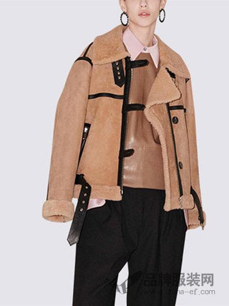 玛依尔女装2018冬季皮毛一体机车服休闲短外套