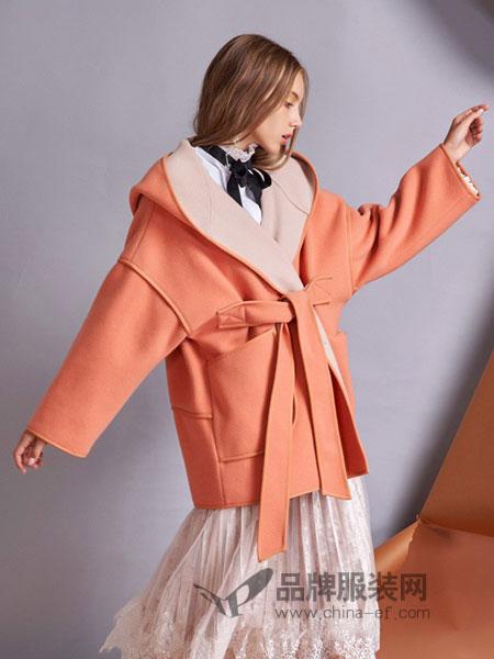 卡布依女装2018秋冬新品连帽系带中款双面呢子大衣外套