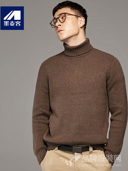墨麦客男装2018秋冬条纹加厚高领毛衣