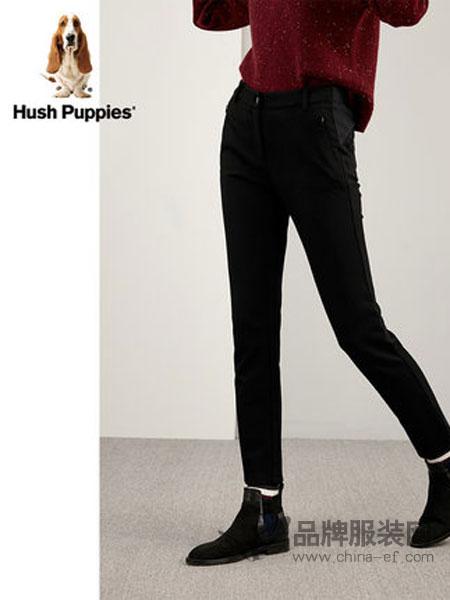 暇步士HushPuppies女装2018秋冬黑色裤子女休闲裤