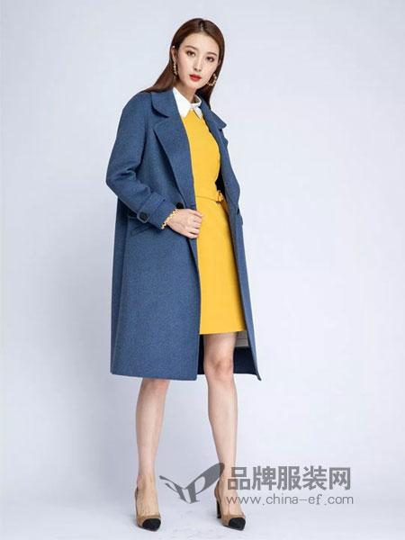 浩洋国际女装2018秋冬中长款新款毛呢外套双面呢大衣