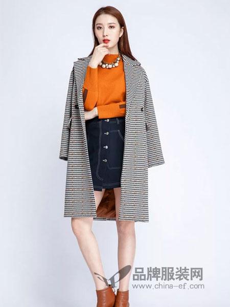 浩洋国际女装2018秋冬格子单排扣气质百搭翻领外套大衣