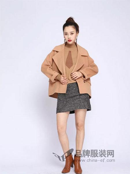 浩洋国际女装2018秋冬羊毛双排扣翻领毛呢大衣