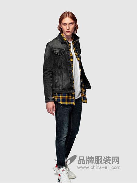 HX男装2018秋冬新款黑色牛仔外套时尚宽松中长款