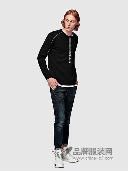 HX男装2018秋冬黑色套头毛衣韩版新款帅气休闲针织衫