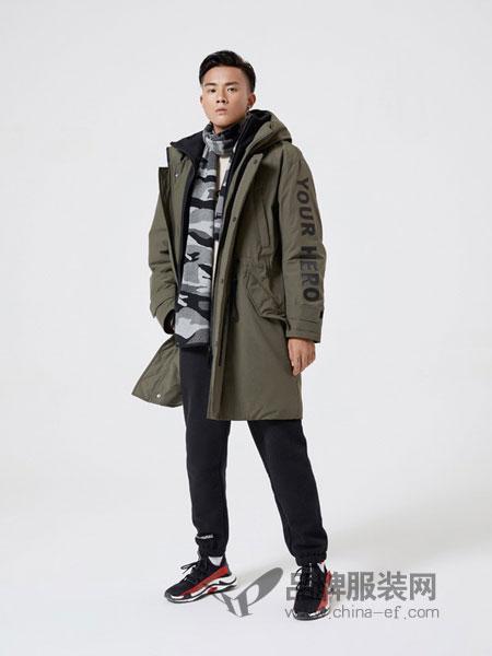 摩高男装2018秋冬中长款连帽羽绒服保暖外套男装白鸭绒
