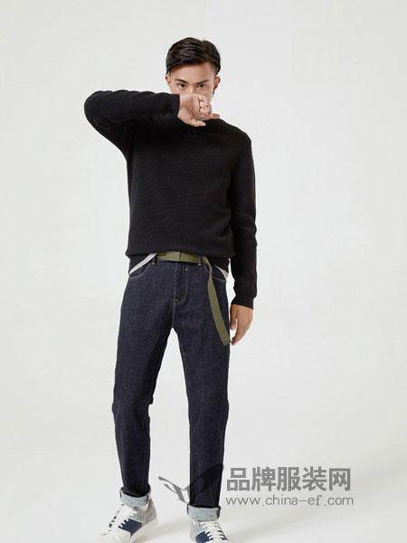摩高男装2018秋冬宽松长袖针织衫中领打底衫