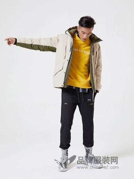 摩高男装2018秋冬新款棉服中长款连帽棉衣外套潮