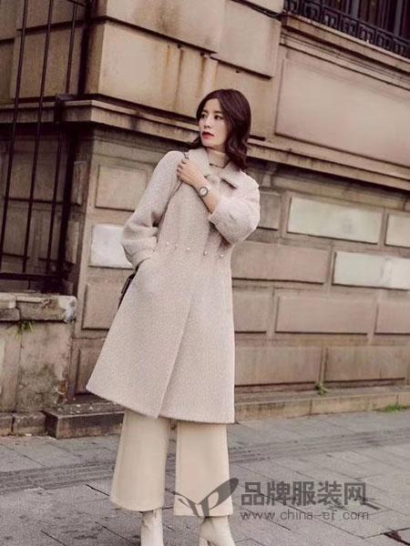 粤韵女装2018秋冬新款时尚中长款韩版修身呢子大衣