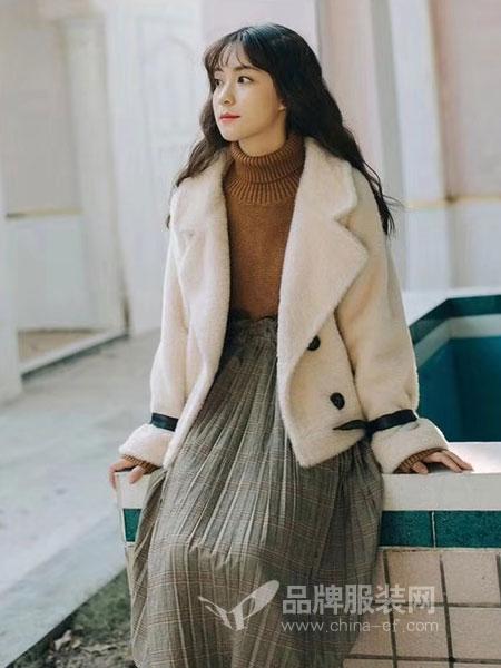 粤韵女装2018秋冬短款宽松小个子羊绒西装领毛呢外套加厚