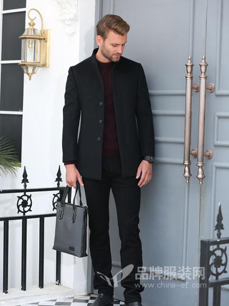 萨卡罗S.ALCAR男装2018冬季新款纯羊毛毛呢子中年水貂毛领外套