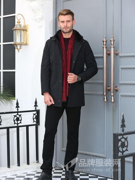 萨卡罗S.ALCAR男装2018冬季中长款连帽羽绒衣鸭绒保暖纯色外套