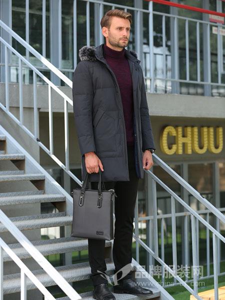 萨卡罗S.ALCAR男装2018冬季新款连帽羽绒服纯色简约加厚保暖外套