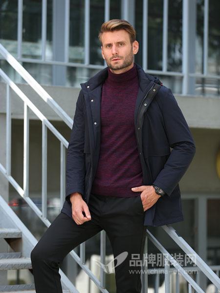 萨卡罗S.ALCAR男装2018冬季新款连帽无弹男纯色商务休闲拉链棉服