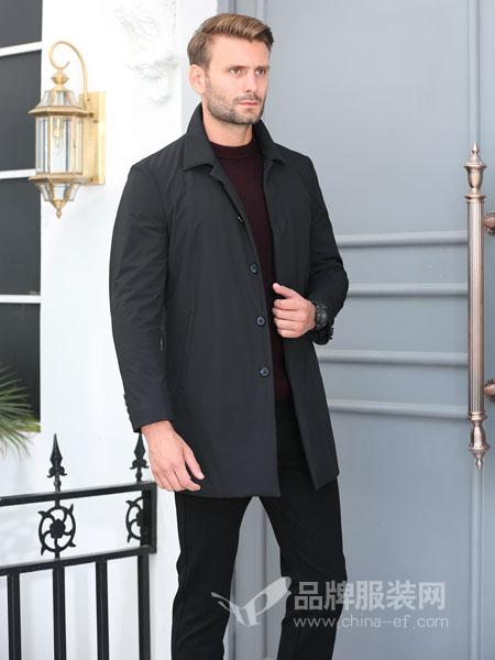 萨卡罗S.ALCAR男装2018冬季中长款商务休闲夹棉风衣 翻领外套长棉衣