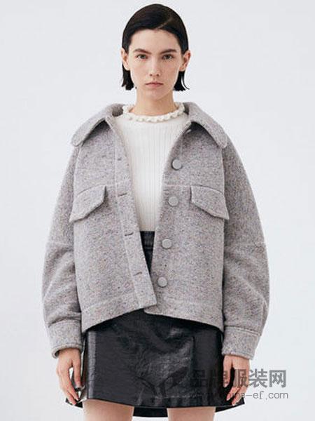 纳薇naivee女装2018秋冬单排扣宽松廓形彩点呢短款大衣