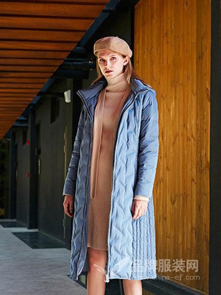 婕妮��女装2018秋冬气质时尚连帽过膝中长款保暖长袖羽绒服
