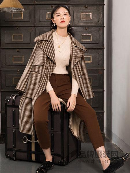 布根香女装2018冬季格纹毛呢外套女中长款韩版宽松呢子