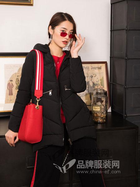 布根香女装2018冬季黑色中女款宽松羽绒服