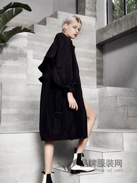 L+女装2018秋冬宽松百搭廓形收腰绑带中长款风衣外套