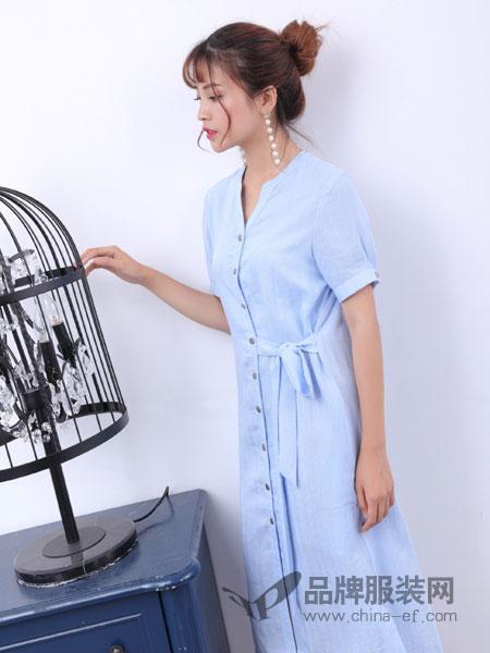 寂索女装V领绑带中长款衬衫裙