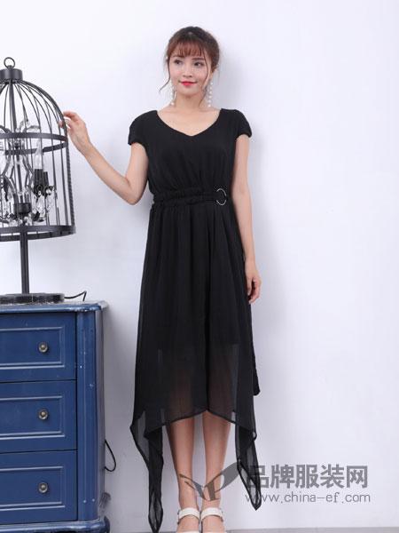 寂索女装V领黑色连衣裙