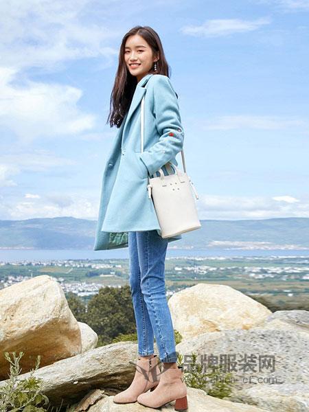 艾路丝婷女装2018秋冬西装领毛呢外套女中长款长袖绣花韩版时尚