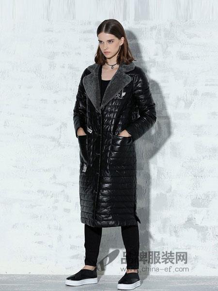 纳帕佳女装2018冬季毛领长款V领皮羽绒服加厚外套