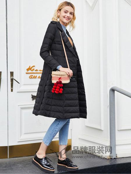 春美多女装2018冬季新款韩版时尚纯色收腰修身中长款外套