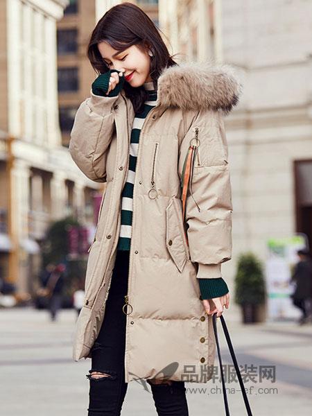 春美多女装2018冬季新款韩版时尚绣花棉服连帽毛领加厚棉袄外套