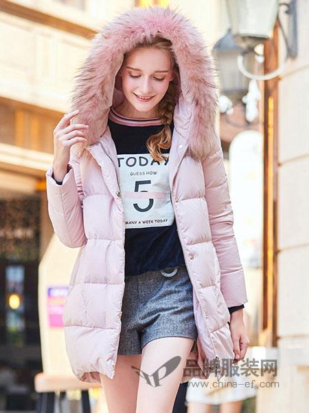 春美多女装2018冬季加厚羽绒棉中长款宽松连帽大毛领外套