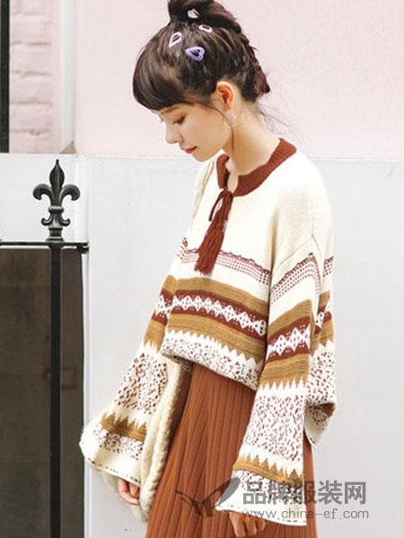 Candie's女装2018秋冬韩版花色流苏针织衫宽松