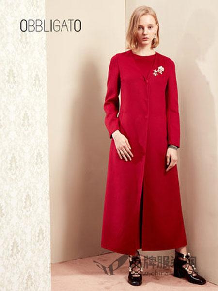 OBBLIGATO奥丽嘉朵女装2018冬季红色修身羊毛连体裤