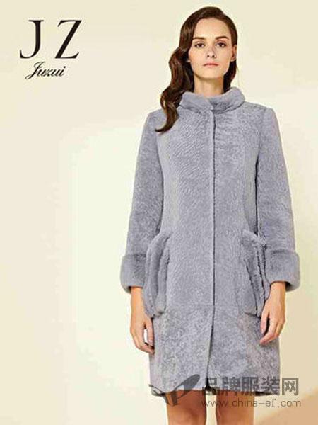 玖姿女装2018冬季大口袋獭兔毛拼接立领羊毛大衣