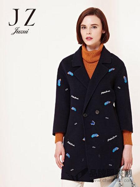 玖姿女装2018冬季西装领立体绣花九分袖双面呢羊毛大衣