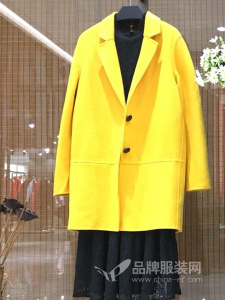 季歌品牌折扣女装女装2018秋冬纯色宽松一粒扣中长款西服外套
