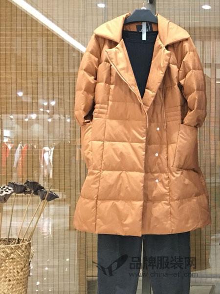 季歌品牌折扣女装女装2018秋冬中长款加厚棉衣服袄子