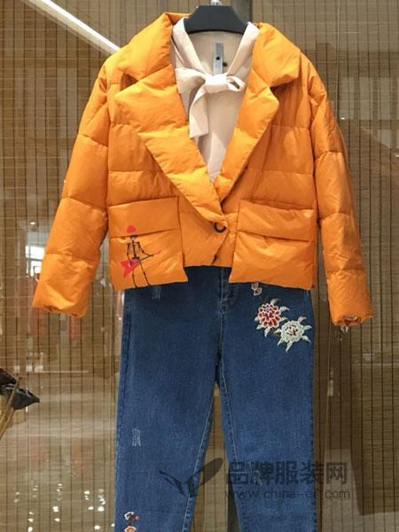 季歌品牌折扣女装女装2018秋冬 翻领长袖短款保暖羽绒服