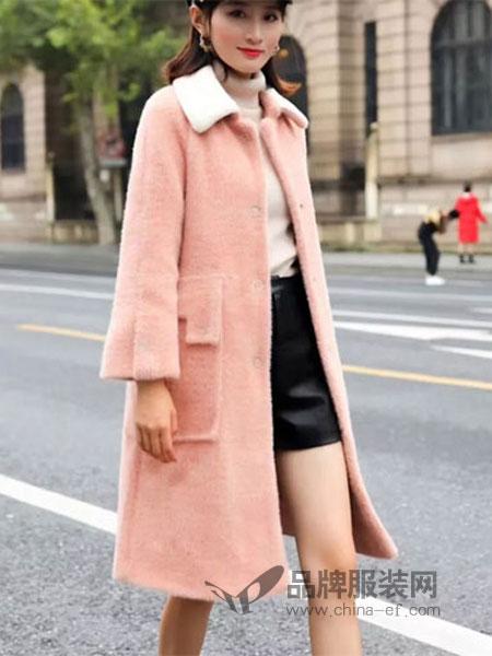 娇泫黛迩女装2018秋冬新款韩版金貂绒大衣女中长款外套