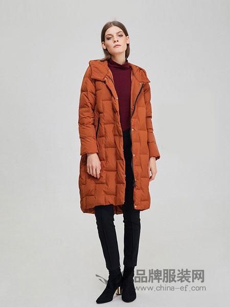 斐格思女装2018秋冬韩版连帽中长款时尚保暖外套羽绒服