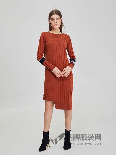 斐格思女装2018秋冬圆领修身拼色衣袖毛衣不规则连衣裙