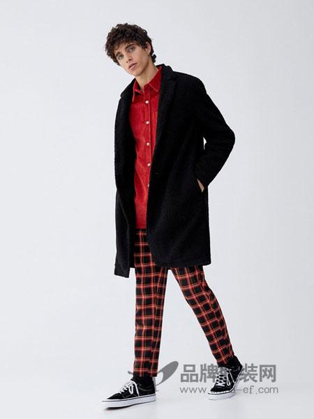 Pull&Bear休闲2018秋冬长款显瘦厚外套棉衣棉服长袖开衫