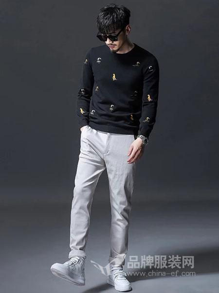 GKKESN积客绅男装2018冬季长袖毛衣男韩版潮流个性黑色针织衫毛衫