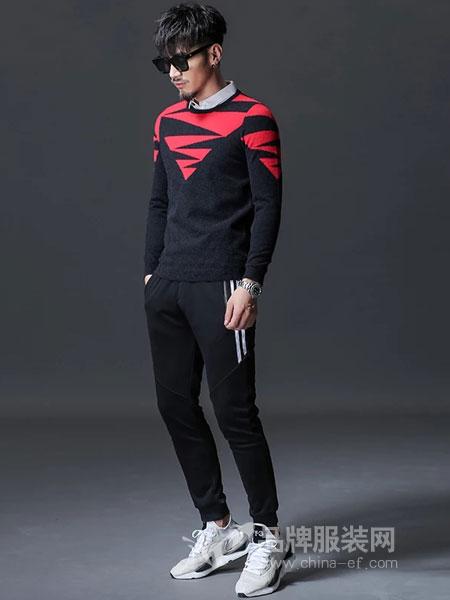 GKKESN积客绅男装2018冬季毛衣撞色韩版潮流时尚街头潮牌针织衫
