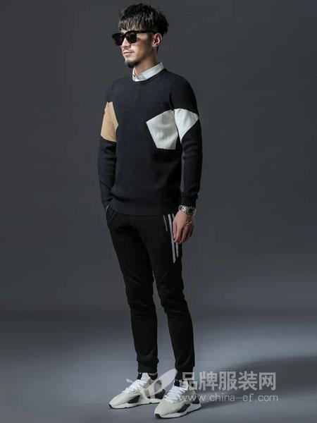 GKKESN积客绅男装2018冬季男士毛衣假两件针织衫上衣