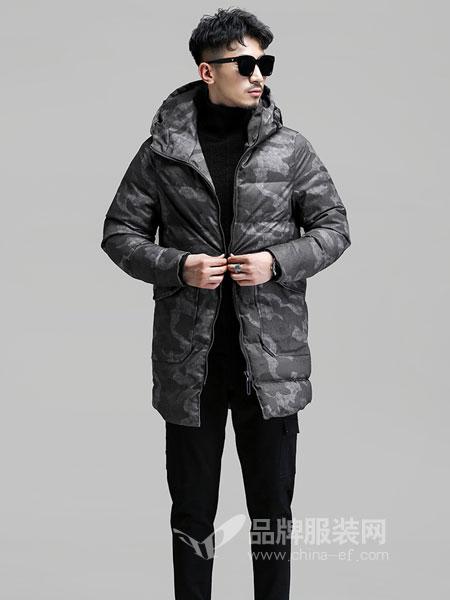 GKKESN积客绅男装2018冬季立领印花中长款商务外套